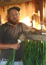 Michael Phillips at the garlic rack, which is full of organic garlic grown on Heartsong Farm. Garlic is one of the best ways to make food be your medicine. (photo: Nancy Phillips)