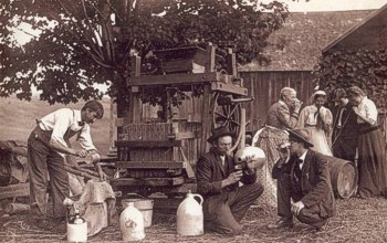 What fun when people come together to press cider! Photograph circa 1900, Dummerstown, Vermont